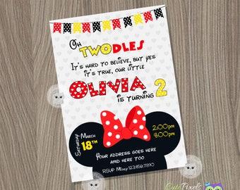 Minnie Mouse Invitation, Minnie Mouse Birthday, Minnie Mouse Party, Minnie Mouse, Disney Invitation, Minnie Mouse Red Invitation