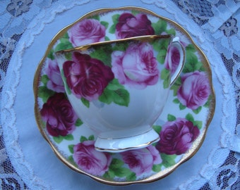 "Royal Albert ""Old English Rose"" - Bone China England - Vintage Tea Cup and Saucer - Ring of Pink and red Roses with Brushed Gold Trim"