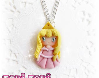 Princess Necklace, Sleeping Beauty, Fairy Tale Jewelry, Small Necklace, Cute Necklace, Pink Necklace, Princess Jewelry, Fantasy Jewelry