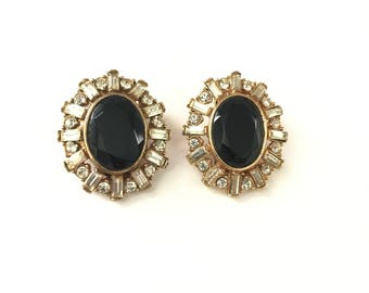 Vintage Faceted Black Glass and Baguette Crystal Rhinestone Clip On Earrings