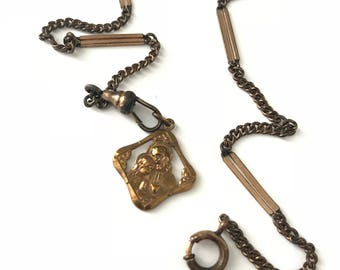 Antique Watch Chain with Religious Fob Pendant