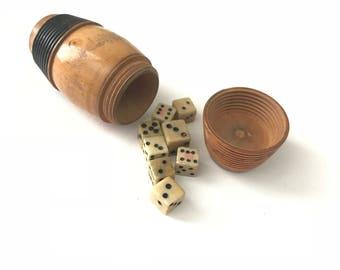 Antique Wood Dice Shaker