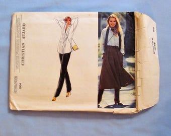 Vogue Sewing Pattern #1954, Christian Aujard, Size 10, Blouse, Culottes, Pants, 1980s