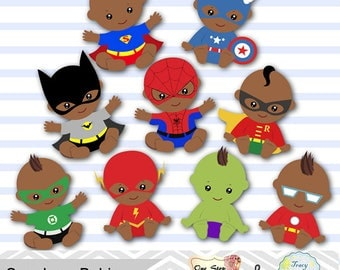 18 Baby Boy Superhero Digital Clipart, Africa American Boy Superhero Baby Clip Art Africa American Baby Boy Party Superhero Baby Shower 0233