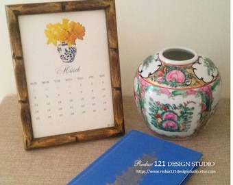2018 Watercolor Style Chinoiserie Monthly Desk Calendar Handmade Blue and White Flowers Hollywood Regency Ginger Jar 5x7 Gift for Her