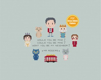Mister Rogers Cross stitch Pattern - Daniel Tiger - PDF Instant Download - Mr Rogers Neighborhood - Won't You Be My Neighbor  Crossstitch