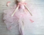 Marry, Cat Doll Ballerina, Stuffed with pure wool, Pink Tutu Skirt, Large Art Doll, Linen Toy, Wool Stuffed, Natural Fabrics