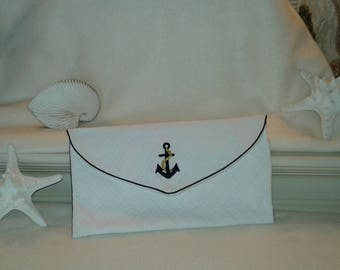 Envelope for lingerie and travel white and Navy nautical