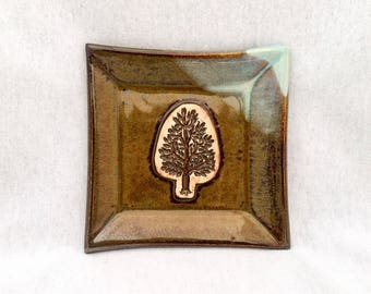 Square pottery plate/ dish, brown and light blue glaze, tree stamp appliqué, tree plate, square tree plate, tree pottery, stoneware