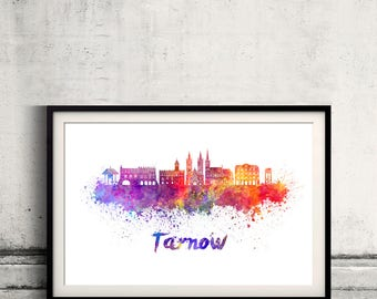 Tarnow skyline in watercolor over white background with name of city - Poster Wall art Illustration Print - SKU 2806
