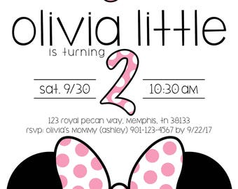 Minnie Mouse Party Invitation - For a 2 year old