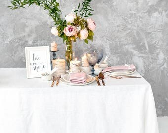 White tablecloth for Wedding table top made of Baltic linen - Restaurant table top - Dining tablecloth
