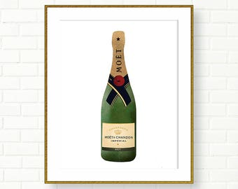 Champagne Bottle Print, Moet Chandon, Brut, INSTANT DOWNLOAD, French Wall Art, Vanity Art, Gold Foil, Wardrobe, Glam, Green, Gold, Elegant