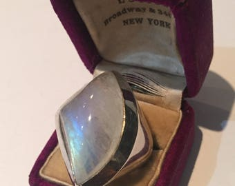 Silver Moonstone Ring, modernist design.