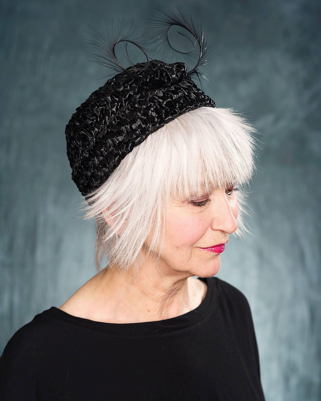 Jackie Kennedy Pillbox Hat: Black 60's Style Pillbox HatJackie Kennedy Style Small