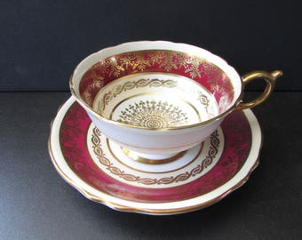Paragon Red Gold Medallion Tea Cup, Saucer/ Gilded, Ruby Red, Gold, ivory bands footed teacup, saucer, #A504 / Excellent condition.