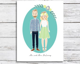 Custom Family Couple Illustration Portrait | Wedding, Engagement, or Pregnancy Announcement, Invitation, or Gift | Christmas Gift