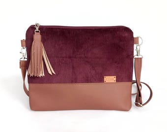 Outdoors Gift Burgundy Corduroy Handbags christmas gifts for Mom Travel bag Small Purse Womens purse  _B034