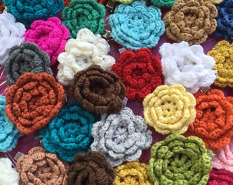 Crocheted flower clips