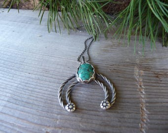 Mini Naja Sterling Silver Turquoise Necklace, Turquoise Jewelry, Native American, Turquoise Pendant, Real Turquoise