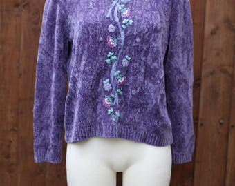 Purple Chenille Jumper with Embroidery