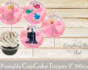 Sleeping beauty Cupcake toppers printable, Princess Aurora birthday, Printable cupcake toppers, Birthday party supplies, Cupcake toppers