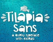 Handwitten Font, Tilapia Sans, Installable, Digital Download, True Type, Open Type, Dingbat, Extras, Fish, Aquatic, Nautical, Cute