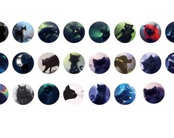 23 self-adhesive labels stickers sticker round sticker - cats - 4 x 4 cm