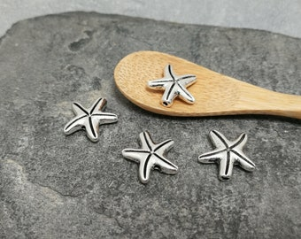 5 pcs spacer beads silver plated brass, 15 x 13 mm starfish