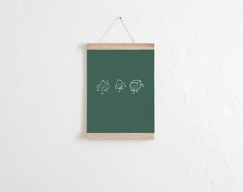 Set / the Green Panel poster + poster Strip oak A4