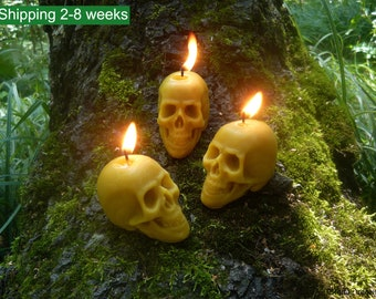 Beeswax Skull Candle - Samhain, Halloween, Gothic Candles - Natural Beeswax Candles