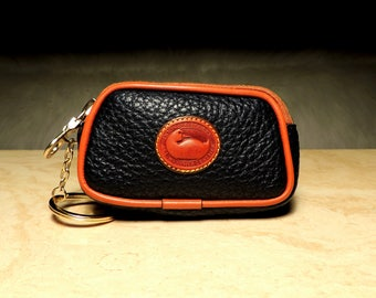RESERVED 01-10-18 Near Mint Vintage Dooney & Bourke AWL Navy Blue/British Tan R57 Zip Key Caddy Coin Purse: Adorable and Functional!