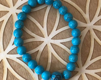 Reconstituted Turquoise Power Bracelet - Turquoise Beaded Bracelet - 8mm Beads - Throat Chakra - Energy Healing
