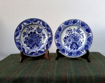 2 Vintage DELFT BLUE Wall Plates by VELSEN Sassenheim, Entirely Hand Painted Blue and White Flowers Decor, Genuine Dutch Delft Art Pottery