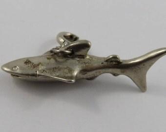 Tiger Shark Silver Vintage Charm For Bracelet