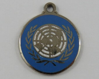 Enamel United Nations Logo Sterling Silver Vintage Charm For Bracelet