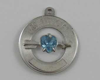 March Heart Birthstone Sterling Silver Vintage Charm For Bracelet