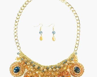 Miss Daisy - Blue Statement Necklace & Earring Set
