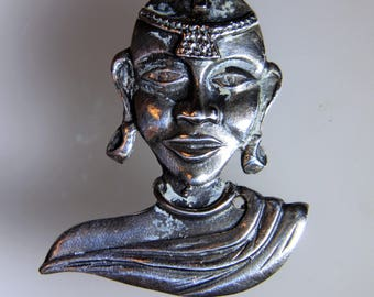 1950's Tribal Woman Candida Joe Calafato South Africa Sterling Silver 925 Brooch