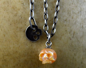 Hand Carved Orange Pearl Skull on Oxidized Sterling Silver Chain with Skull Charm - Adjustable Necklace - Holiday Jewelry- Skull Gift