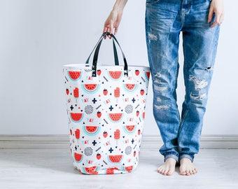Watermelon Fabric Basket, Fabric Hamper, Laundry Basket, Nursery Hamper, Nursery Toy Basket, Nursery Storage, Laundry Hamper, Hamper, Basket