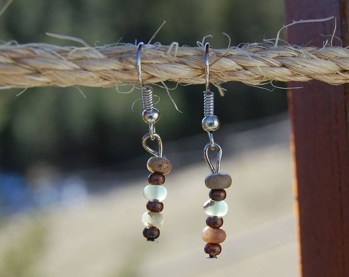 Aquamarine & Copper Beaded Earrings