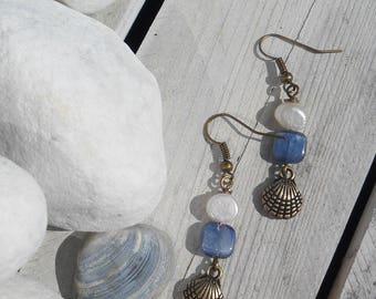 Sea Spray Earrings in Antique Bronze with Kyanite and Freshwater Pearl - Earrings - Shell - Ocean - Summer