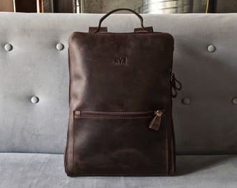 HandMade LEATHER BACKPACK  / Citi Backpack / Handcrafted leather Rucksack on zipper / Brown leather bag