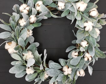 Lamb's Ear Wreath- Cotton Wreath- Farmhouse Wreath- Farmhouse Decor- Front Door Wreath- Door Wreath- Wreaths for Front Door- Wreaths