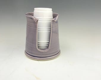 Gloss Lavender Kitchen Cup Holder -5 Ounce Cup Dispenser - Pottery Cup Holder - Ceramic Kitchen Cup Holder - Handmade