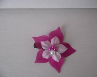 Bride bridal bridesmaid silk flower hair accessory hair clip beads white / Fuchsia holiday evening ceremony