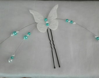 Bridal, hair pin chignon Butterfly linen and lace beads turquoise blue and white wedding party evening ceremony