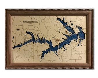 Lake Monticello Dimensional Wood Carved Depth Contour Map - Customize With Your Home Information