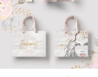 Fashion Branding Theme, Premade Logo Design, Floral Logo, Beauty Logo, Planner Logo, Photography Logo, Wedding Boutique Logo Blush Gold.
